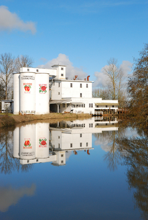 heritage site: Thompson Flour Mill in Shedd Oregon is a Oregon State Heritage site was built in 1958 and runs using a water power