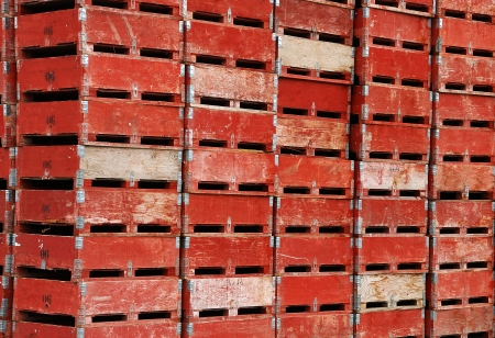 storage: Stacks of fruit crates at a cold storage warehouse in the Apple capital of the world, Wenatchee Washington Stock Photo