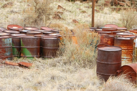 haz: Old abandoned chemical fuel barrels in the high desert of central Washington state