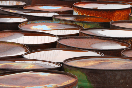 hazardous waste: Old abandoned chemical fuel barrels in the high desert of central Washington state