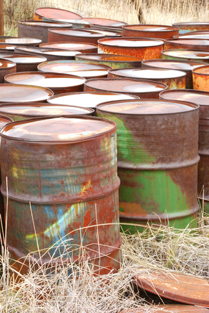 Old abandoned chemical fuel barrels in the high desert of central Washington state