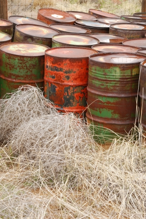 haz mat: Old abandoned chemical fuel barrels in the high desert of central Washington state
