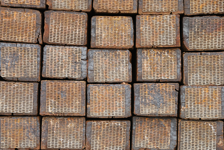 bullhead: Stack of railroad ties waiting to be used to replace broken or damaged ones on a local rail line Stock Photo