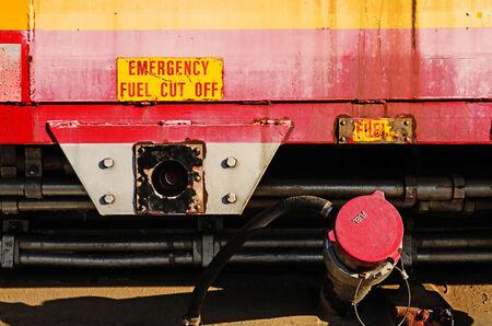 barstow: Santa Fe railroad engine #95 siting in the rail yard track in Barstow California