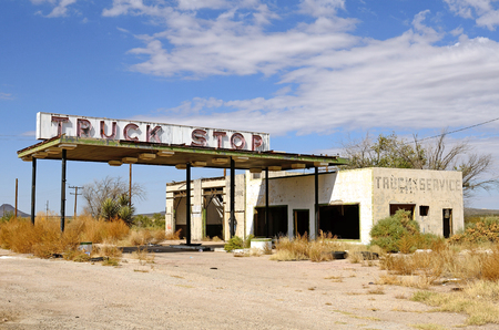 abandoned gas station: Old abandoned roaside truck stop fuel station near the small Texas town of Sierra Blanca