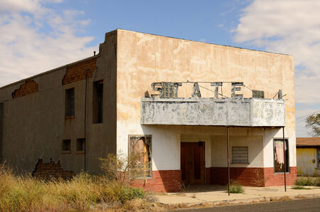 Old abandoned roaside theater near the small Texas town of Sierra Blanca Stock Photo