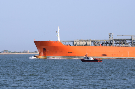 Large liquified petroleum gas, LPG, tanker coming in the Port of Galveston Texas for off loading