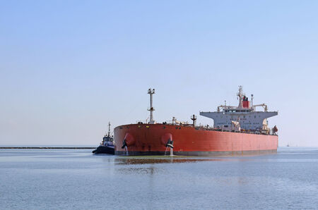 Petro-chemical tankers in Oso Bay in the Port of Corpus Christi, Texas, a large processor of petroleum for the oil and fuel industry