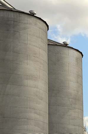 agricultural area: Large grain silos sit along an agricultural area of south eastern Texas Stock Photo