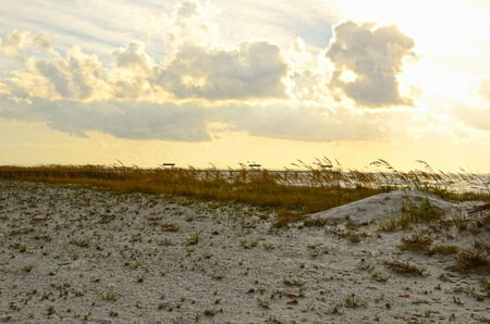 Pier and beach access to the Gulf of Mexico near Pensacola, Florida during early morning light