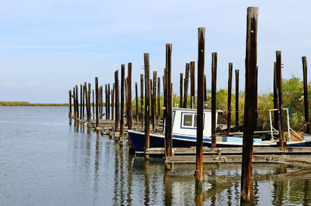 Shimp and fishing boats at port in the swamp land near New Orleans Louisiana