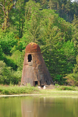 lumber mill: Old lumber mill wigwam burner produced energy for a box mill in Oakland Oregon