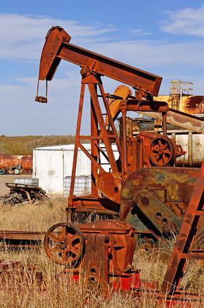 horsehead pump: pumpjack, (nodding donkey,  horsehead pump, rocking horse, beam pump, dinosaur, sucker rod pump, grasshopper pump, Big Texan, thirsty bird, or jack pump) is the overground drive for a reciprocating piston pump in an oil well. in eastern Texas