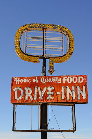 Old abandoned restaurant drive inn cafe along Route 66 in northern Texas photo
