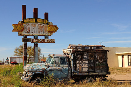 ranch house: TUCUMCARI, NM, USA: Tucumcari, New Mexico, USA  - NOVEMBER 21, 2013: Ranch House Cafe along Route 66 in northern New Mexico one of several icons still around along the magestic highway.