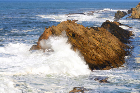 acres: Wave action from a Pacific storm on the Oregon Coast at Shore Acres State Park  Stock Photo
