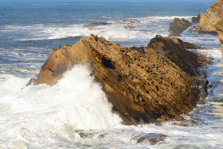 acres: Wave action from a Pacific storm on the Oregon Coast at Shore Acres State Park.