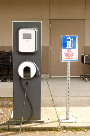 electric power station: New charging station for electric car located outside a shopping center in a small Oregon city.