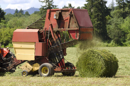 baler: Tractor pulling a large round baler to pick up high value alfalfa grass feed from a summer field in Oregon