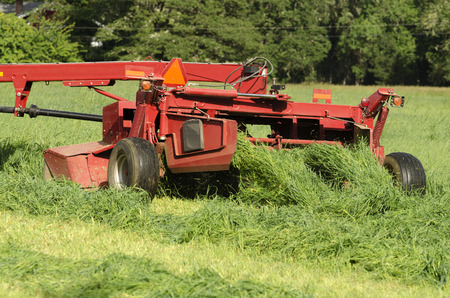 tine: Tractor pulling a swather grass mower cutting through a hay field Stock Photo