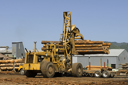 Large rubber tire log handler or loader removes a loads of cedar logs from a logging truck at a Oregon specialty wood product mill photo