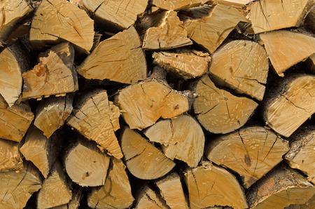 destined: Stack of hazelnut or filbert wood chuncks destined for firewood Stock Photo