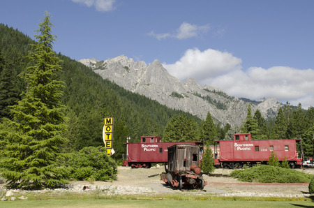 caboose: Railroad Park Resort uses old railroad caboose cars for cabins in Northern California near Lake Shasta
