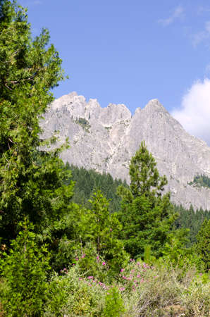Castle Crags State Park  with its impressive glacier polished rock crags in Northern California Banco de Imagens - 33248310