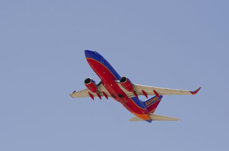 LAS VEGAS, NV, USA  - JUNE 24, 2014: A Southwest Airline Passenger Jet On Final Approach To Las Vegas International Airport on June 24, 2014
