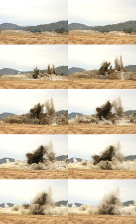 Full sequence of the blasting of shale rock