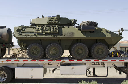 lav: BARSTOW, CA, USA - JUNE 29, 2014: LAV-25 (Light Armored Vehicle) is an eight-wheeled amphibious reconnaissance vehicle used by the United States Marine Corps