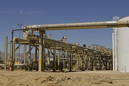 petrolium: Piping and valves at a crude petrolium transer plant in Southern California