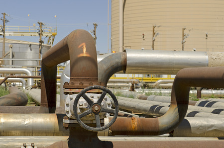 Piping and valves at a crude petrolium transer plant in Southern California