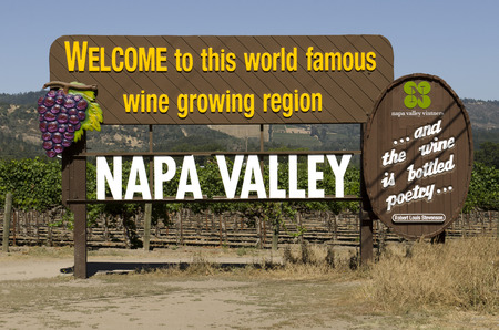 famous industries: Sign a the south entrance to the famous Napa Valley wine grape growing region in California