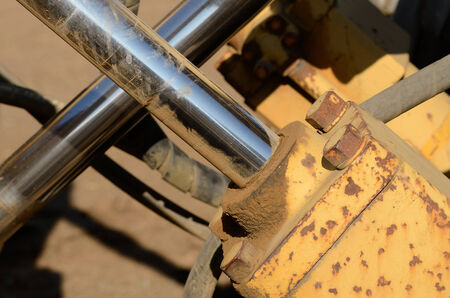 Hydraulic detail of a construction tractor at a large construction site Stock fotó