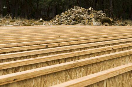 housebuilding: Engineered wood floor joist layout on a new custom luxury home Stock Photo