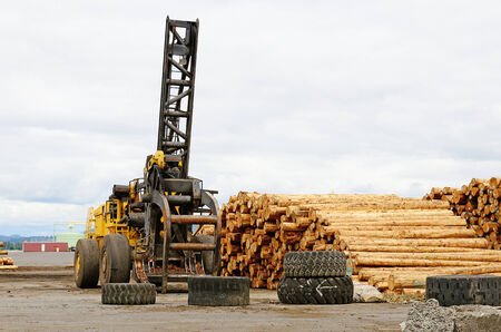 A large log deck at an mill on the Oregon Coast near Astroia Stock Photo