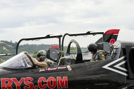 l petrol: Part of the Patriots Jet Airshow Team stop for fuel at Roseburg Oregon, returning from a show,