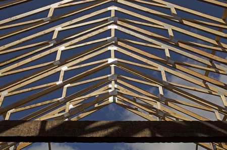 luxery: Roof truss and beam detail on a new custom luxery home