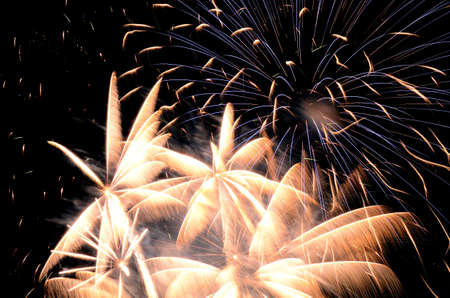 glow pyrotechnics: Independence day fireworks against a clear sky July 4th celebration in Oregon Stock Photo