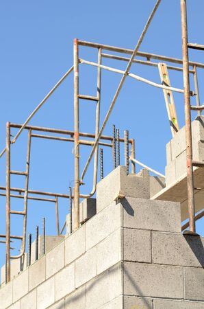 concrete commercial block: Putting up a concrete block wall at a new commercial site