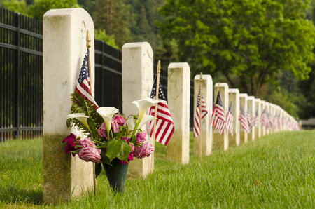cemetary: Flags placed at the final resting graves of USA military veterans during Mermorial Day Stock Photo