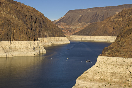 mead: Lake above the Hoover Dam at Lake Mead National Recreation Area Stock Photo