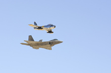 sabre: Lockheed Martin F-22 Raptor and North American F-86 Sabre, Nellis Air Force Base, Aviation Nation 2014 airshow, Heritage Flight