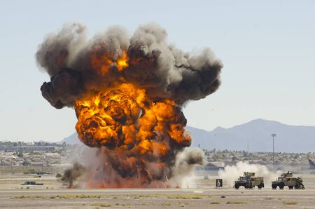 air demonstration: Explosions as part of a demonstration at Nellis Air Force Base, Aviation Nation 2014 airshow