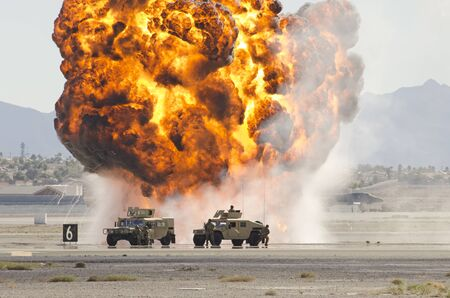 Explosions as part of a demonstration at Nellis Air Force Base, Aviation Nation 2014 airshow
