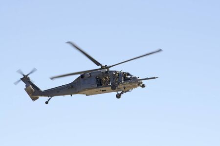 Sikorsky HH-60G Pave Hawk helicopter in a rescue operation, Nellis Air Force Base, Aviation Nation 2014 airshow