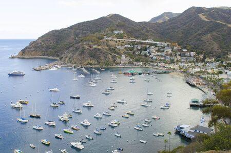 catalina: Boats in the harbor at the port of Avalon on Catalina Island California