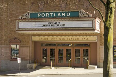 south park: Portland, OR, USA - February 21, 2014: Arlene Schnitzer Concert Hall, Portland Center for the Performing Arts, South Park Blocks