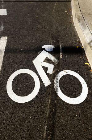 lane marker: Obvious vehicle brake marks on a bike lane marker symbol at an vehicle accident scene